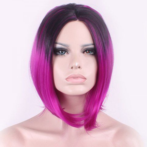 Elegant Straight Middle Part Synthetic Bob Style Black Gradient Purple Medium Cosplay Wig For Women