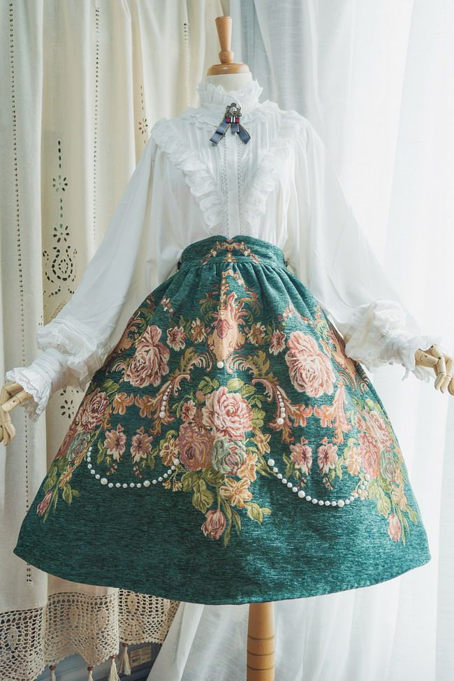 Surface Spell -Spring Flowers- Vintage Classic Lolita Skirt
