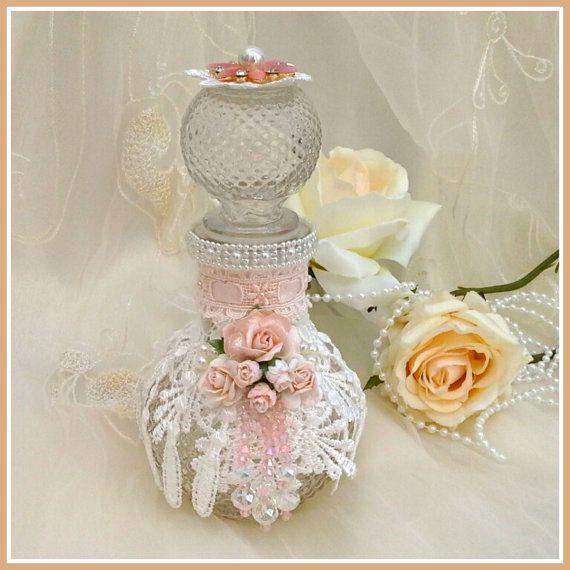 shabby chic bottle, altered bottle, decorative bottle , decorated bottle , lacy bottle, vintage look bottle, beaded bottle  bottle,