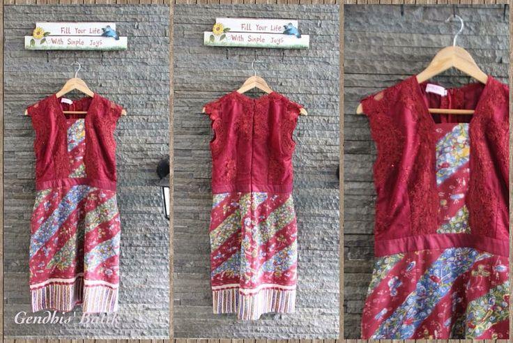 Brokat maroon + batik lasem lawasan + lining tricot halus