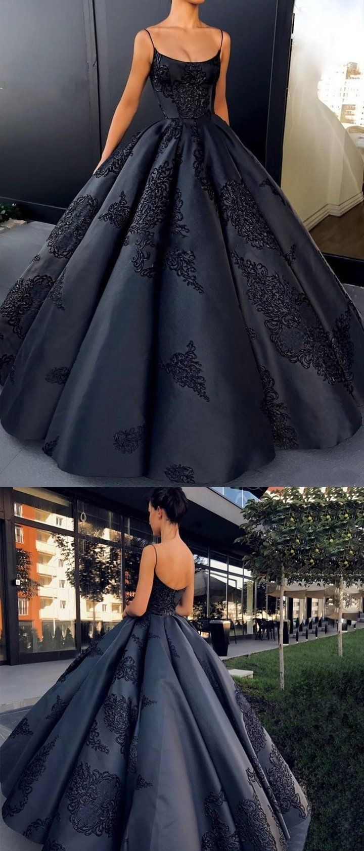 Spaghetti straps modest long best sale formal prom dress ball gown