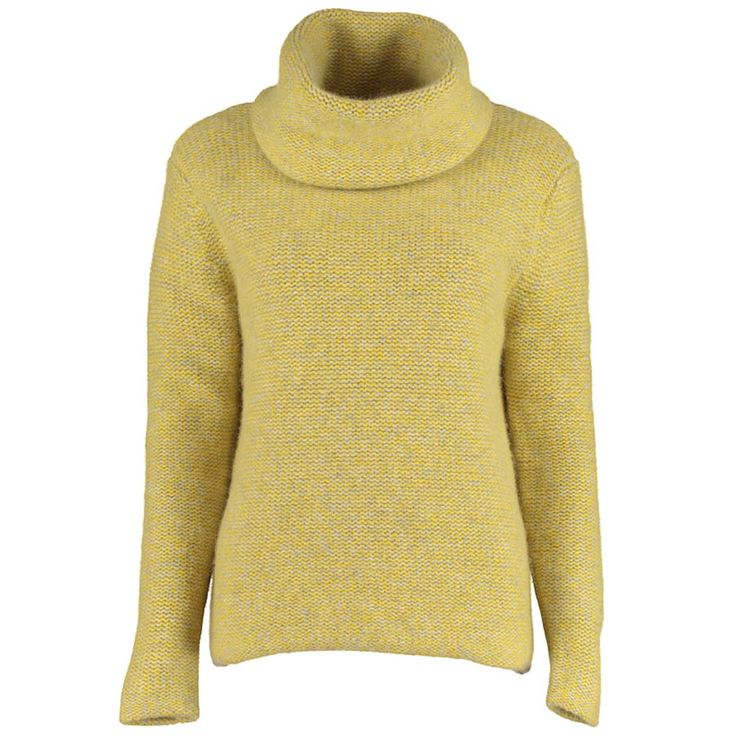 Lowie  Virgin Wool Chunky Roll Neck Jumper in Yellow Marl.: Lowie's classic chunky roll neck jumper is now available in muted yellow marl. This cosy woolly jumper has long sleeves, a rolled hem and a snuggly, loose fit roll neck designed to keep those winter chills at bay. This top was made on a traditional hand-loom in a small family run factory in Chang Ping, China. The factory has over 30 years experience and specialises in high end knit wear.