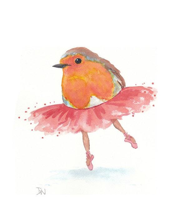 Original Bird Watercolor Painting  Ballet Art by WaterInMyPaint