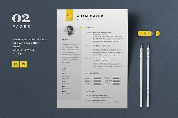 Resume Adam by Astut on @creativemarket Professional, modern, stylish and creative resume design template for your new job. Use this simple ready to use layout – only add a picture, your profile and your skills – or grab some ideas.