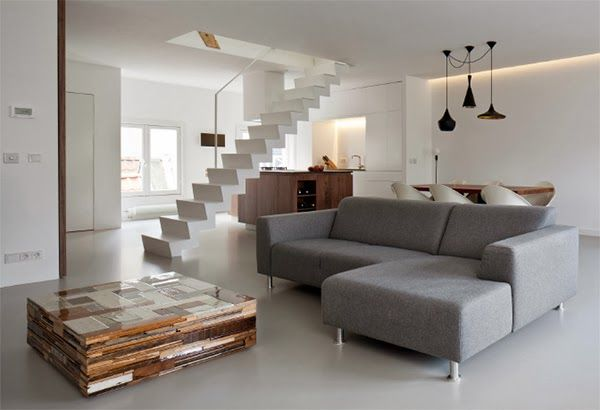 Blog wnętrzarski - design, nowoczesne projekty wnętrz: Minimalistyczny apartament w Amsterdamie 70 m2 - jak urządzić dwu-poziomowe mieszkanie - blog o aranżacji wnętrz, inspiracje i pomysły na dekoracje domu