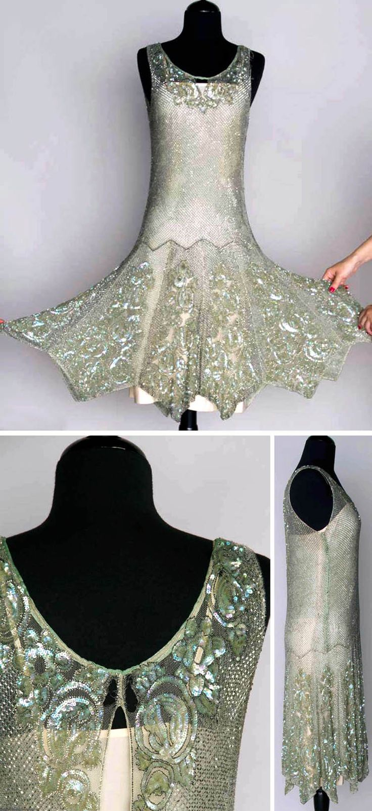 Beaded and sequined dance dress, 1920s. Seafoam green, silver bugle bead lattice pattern with iridescent sequined roses at neckline  hem.                                                                                                                                                                                 More