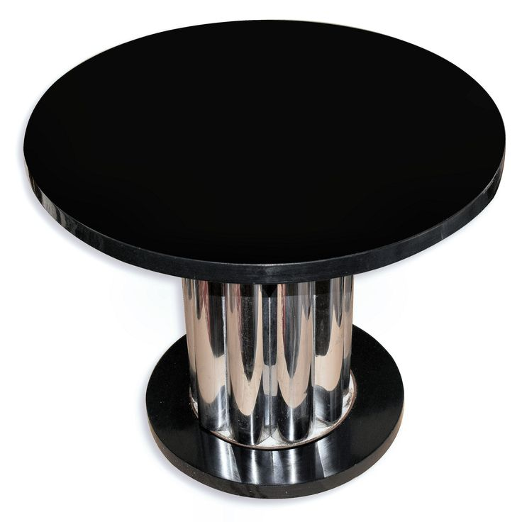 1930s art deco modernist center table in chrome and black ebonised wood