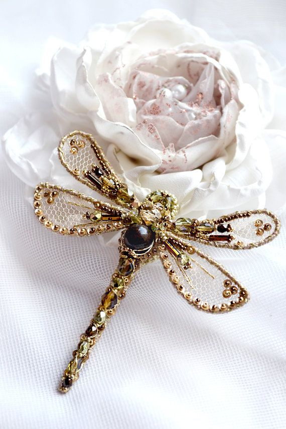 Dragonfly jewelry Insect art brooch Dragonfly by PurePearlBoutique