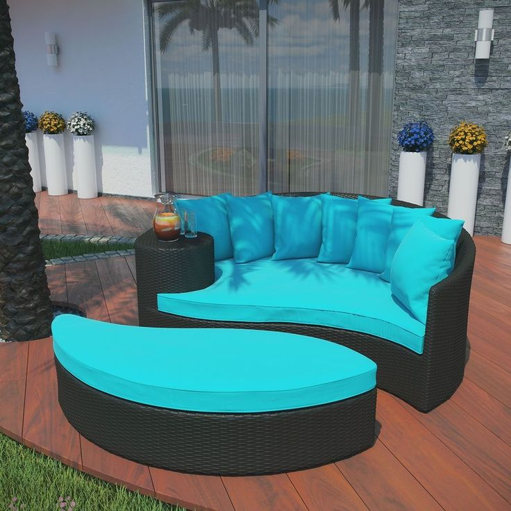 Outdoor Patio Furniture Daybed Ottoman Turquoise Cushions Wicker Sofa Lounge