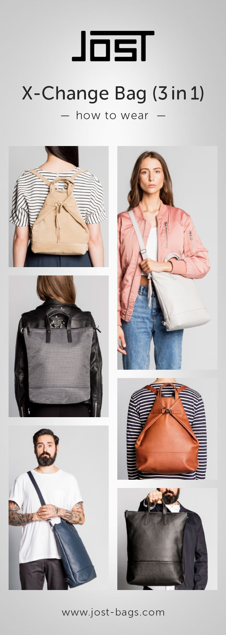 1 bag, 3 different ways to use it! You can either wear it as backpack, a shoulder bag or grab it briefcase style. You can also decide on whether to wear it open or together. Either way lots of room and options. Available for men and women! #bag #backpack #bags #shoulderbag #leatherbag #design #fashion #backpacker #leather #3in1 #jost #jostbags #howtowear #howtouse #howto