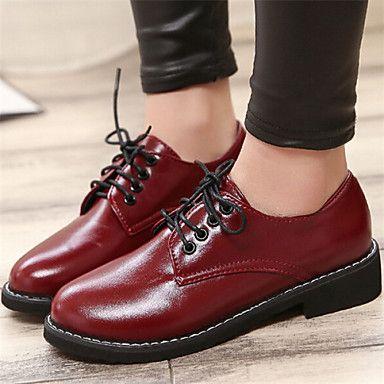 Chaussures Femme - Décontracté - Noir / Rouge - Gros Talon - Bout Arrondi - Richelieu - Similicuir de 2016 à €24.49