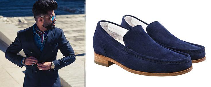 Abito blu uomo abbinamento scarpe estive 2016