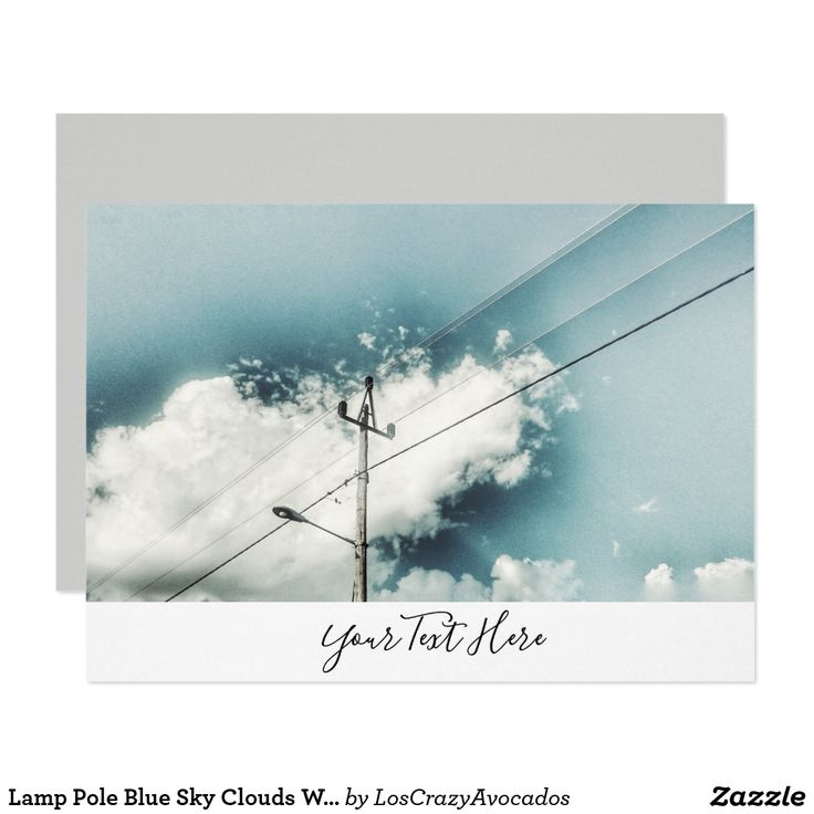 Lamp Pole Blue Sky Clouds Wires Invitation Card