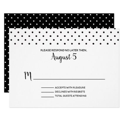 Black and White Polka Dot Wedding RSVP Card - elegant gifts gift ideas custom presents