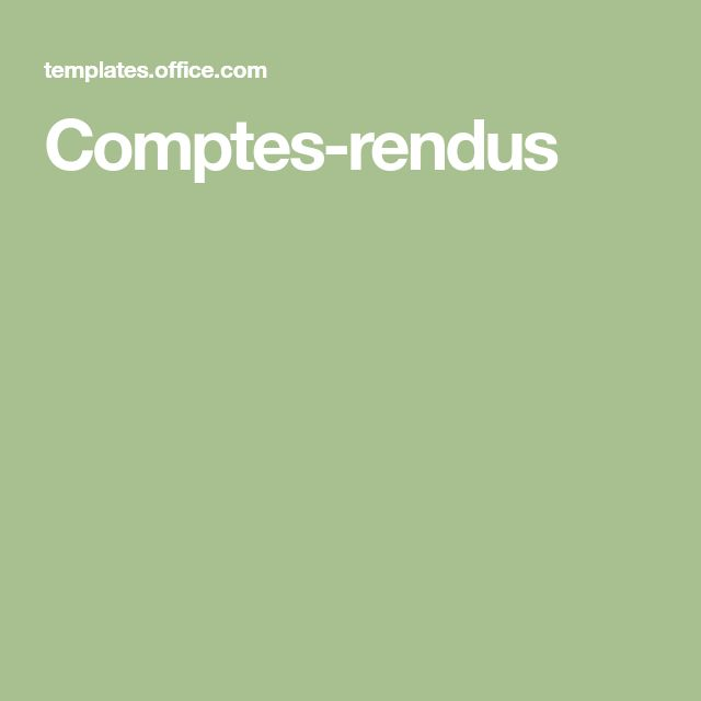 Comptes-rendus