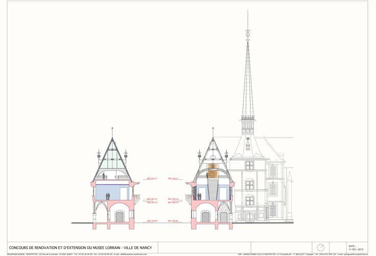 MUSÉE LORRAIN NANCY RCR ET BEAUDOUIN HUSSON ARCHITECTES COUPE TRANSVERSALE