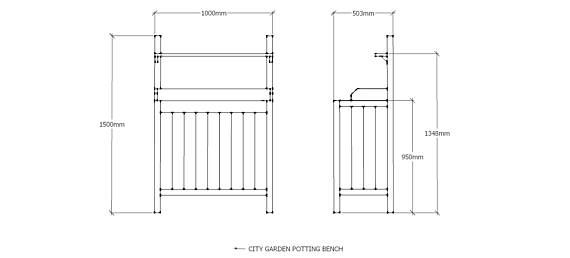 Wooden Potting Bench for city gardens