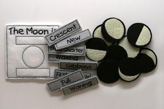 Glow in the Dark Felt Moon Phase Chart by BlueUmbrellaDesigns, $22.00