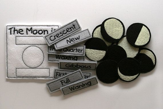 Glow in the Dark Felt Moon Phase Chart by BlueUmbrellaDesigns, $22.00