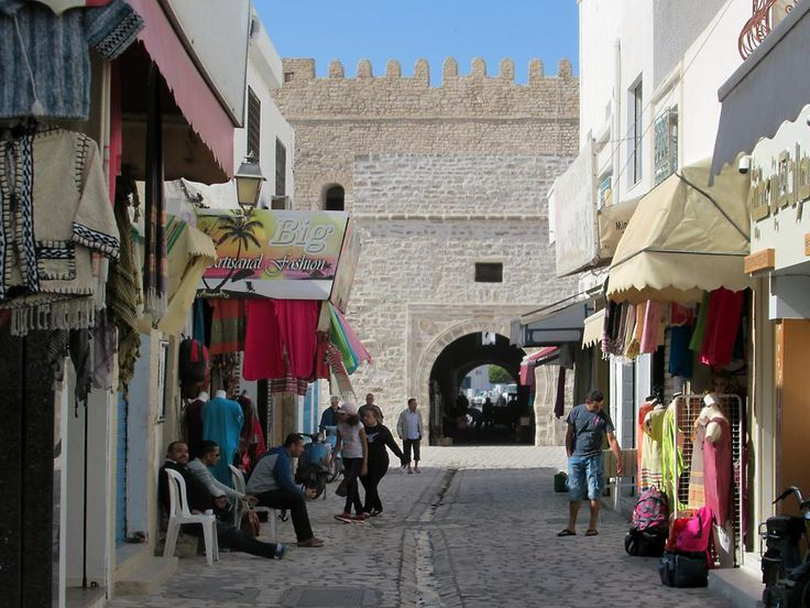 Rue Ali Bey, the oldest street in Mahdia, Tunisia, begins at the 16th century Skifa el Kahla.