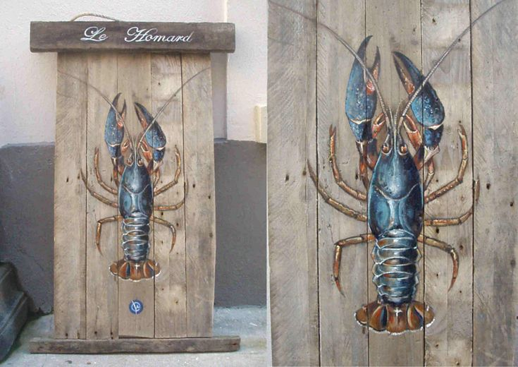 lobsters on driftwood