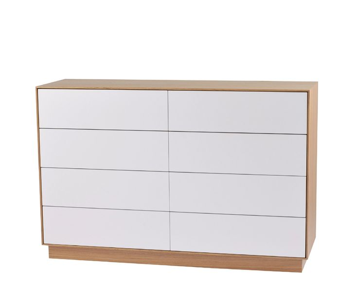 Tore byrå 4+4 lådor Ek/Vit - Tibergs möbler