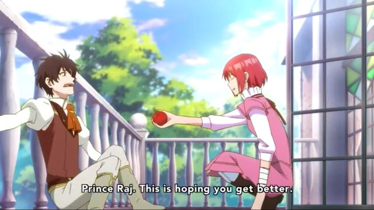 "Akagami no shirayuki hime "" Snow White with the red hair "" Shirayuki giving the poisoned apple to Prince Raji to pay back for Zen Wistalia ♡"