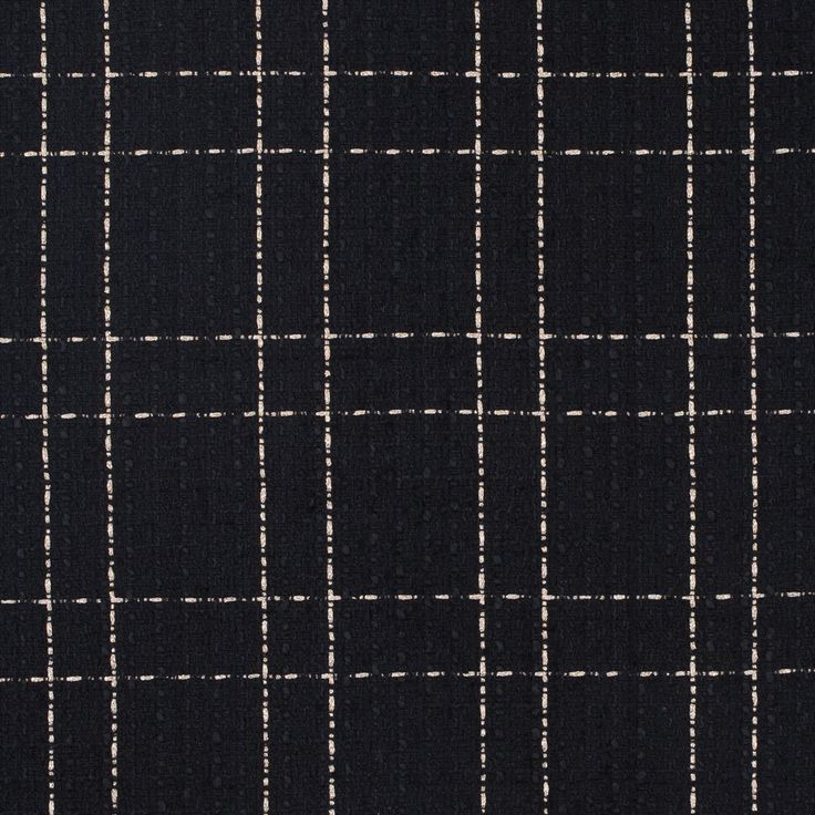 Black and Pale Metallic Gold Plaid Polyester Tweed