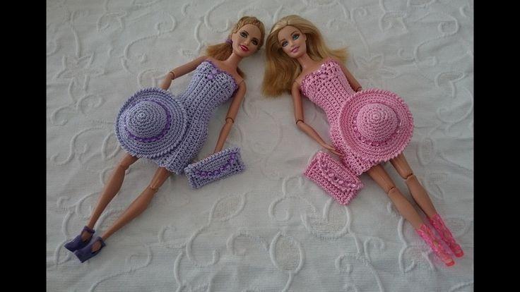 Элегантное платье для куклы крючком.  Платье, клатч, шляпа.  1 часть Платье