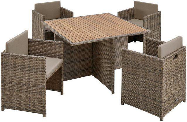 Gartenmobelset Verona Wicker 9 Tlg 4 Sessel Tisch 110x110