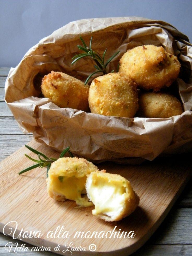 Uova alla monachina - Italian region of Campania; ingredients: eggs, milk, flour, butter, salt, black pepper, nutmeg, parsley, bread crumbs