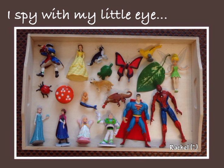 "An 'I Spy' tray... limit the children's choice by providing specific items... from Rachel ("",)"
