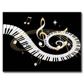 Clés de piano et notes d'or de musique cartes postales
