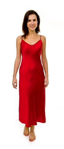 Red Silk Long Nightie with adjustable shoulder straps $119