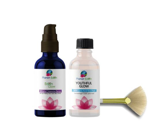 Planet Eden  Intense Repair Lactic Acid Peel Kit with Miracle C Serum with Camu Camu Berry Extract & Fan Brush DESCRIPTION  Dermatologist grade lactic acid, strong unbuffered lactic acid to give more younger radiant skin. 1 bottle yields about 12-18 peels Same peel administered in