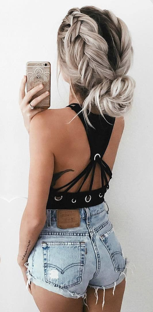 summer street style outfit: top + shorts