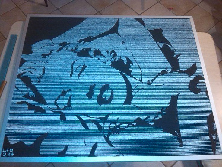 merilyn monroe in stile pop art tempera e scolorina su pannello in trucolare
