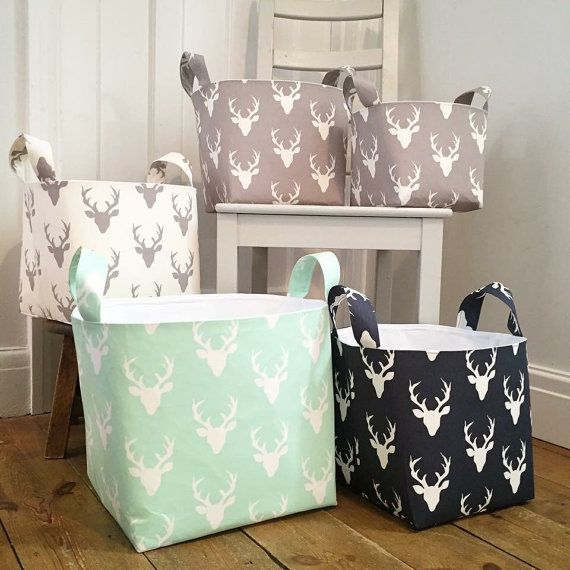 Stag Fabric Baskets  Hello Bear  Choice of by TwinkleTwinkleBabies