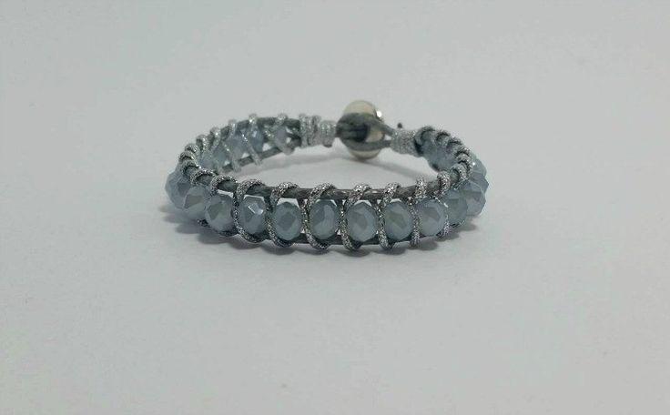 Wrap Bracelet,jewelry Single Wrap,Gift for her, crystal wrap bracelet,Button Bracelet,Beaded Wrap Bracelet, Silver bracelet,Boho Jewelry. by betsyarts on Etsy