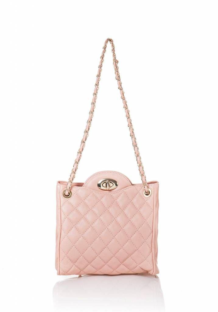 Schouder tas van leder uit Italië baby roze met goud kleur gevlochten ketting