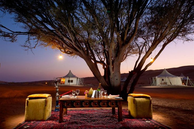 I could be persuaded for a bottle of bubbly, at the Desert Nights Camp, a luxury hotel in Oman, Al Wasil, Wahiba Sands,  made of tents in Bedouin style for only 64 guests, with the comfort of a 5 star hotel.