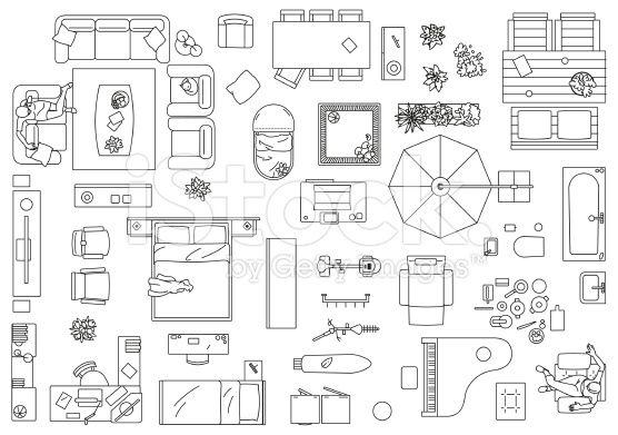 Furniture, Floor Plan royalty-free stock vector art