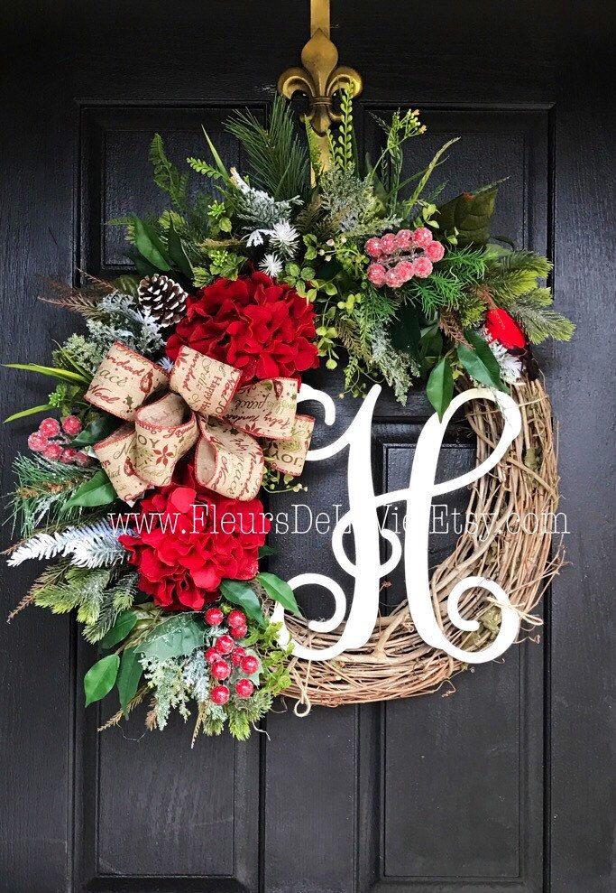ON SALE Christmas Wreath for Front Door, Monogram Wreaths, Holiday Wreaths, Front door wreath, Seasonal Door Wreaths, Winter Wreaths - $121.46 USD