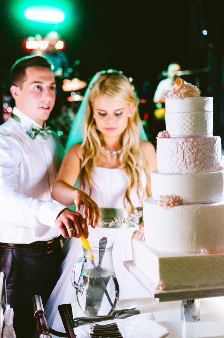 wedding cake and lights