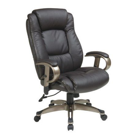 Office Star Executive Bonded Leather Chair with Padded Height Adjustable Arms, Multiple Colors, Silver