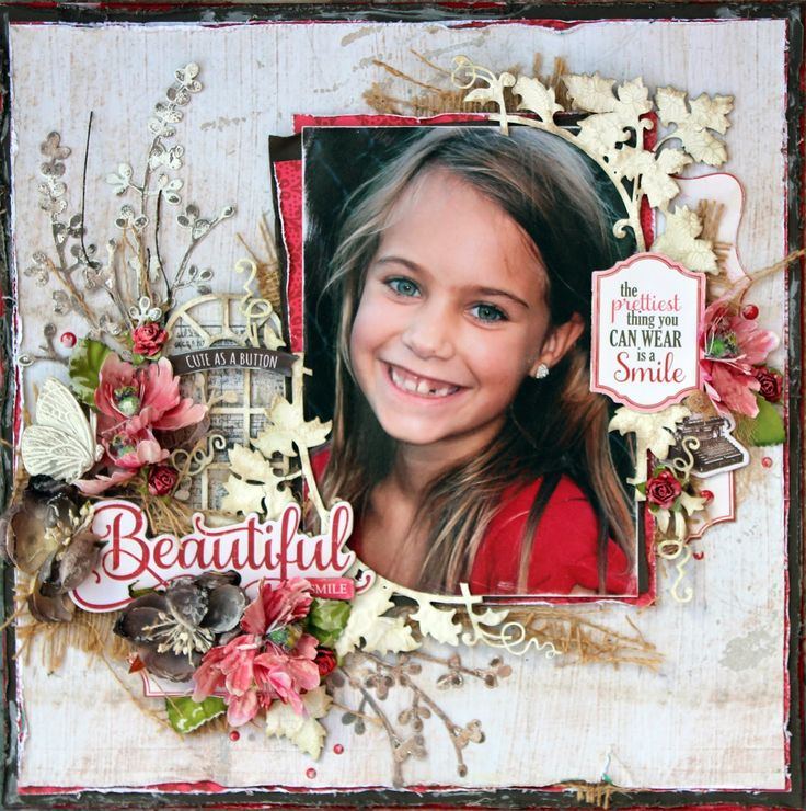 """Echo Park - """"Jack & Jill"""" collection. Tina Marie - Forever and Always: """"Beautiful Smile"""" - Design Team Creation for The S..."""
