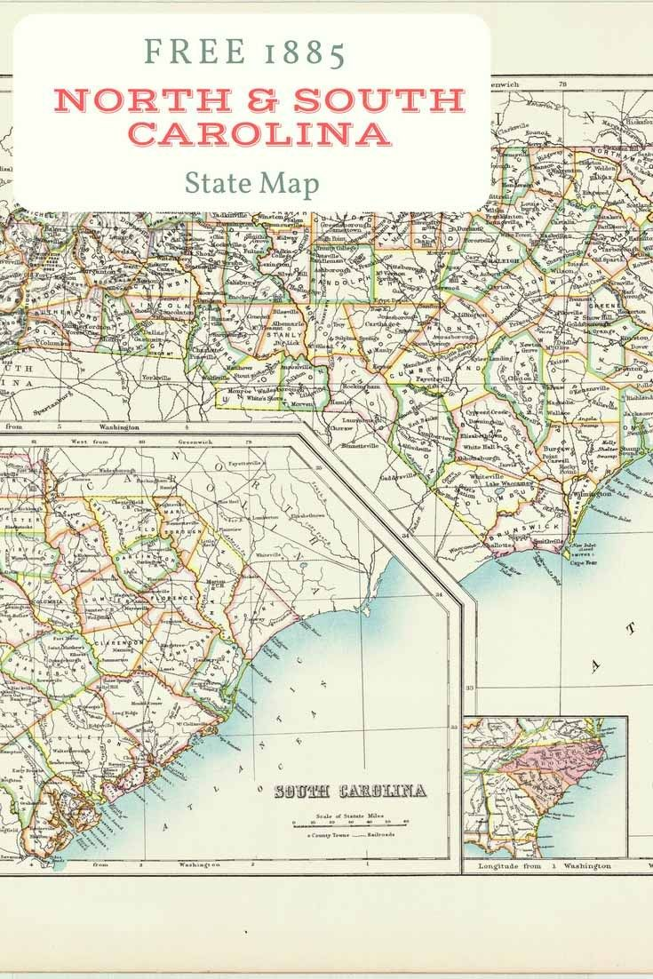 graphic relating to Printable Map of South Carolina known as Totally free printable previous map of North South Carolina towards 1885