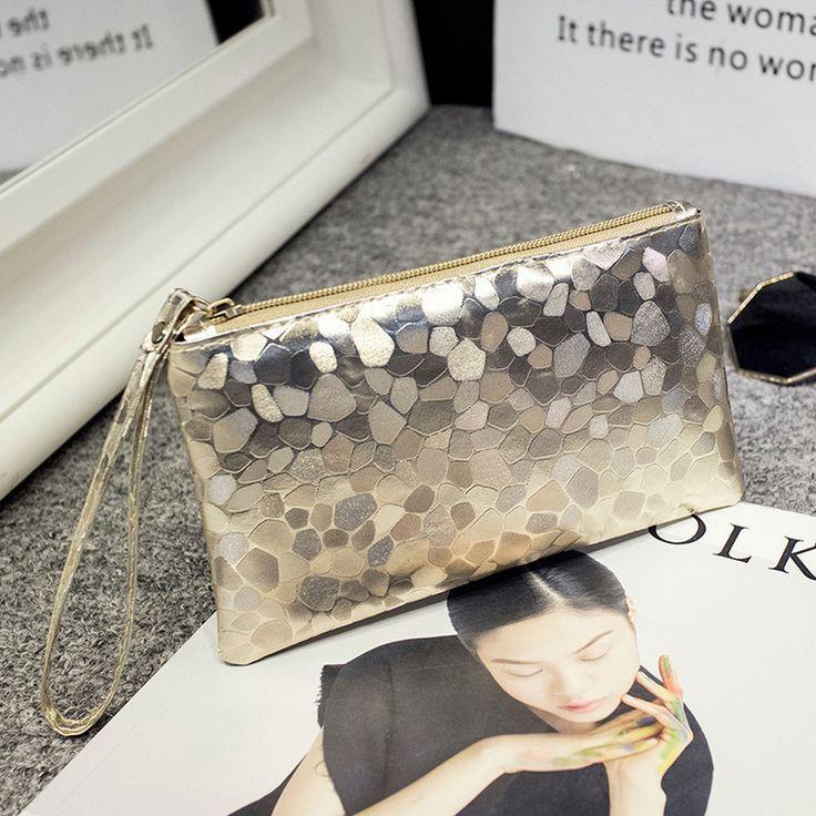 새로운 2017 봄 패션 골드 PU 가죽 유명 디자이너 럭셔리 브랜드 여성 지갑 격자 무늬 여성 돈 클립 클러치 지갑 작은 가방