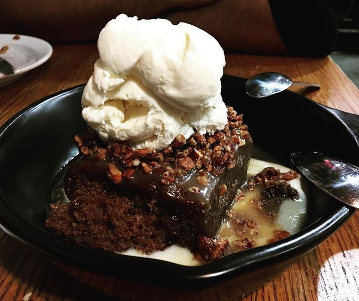 Tennessee Whiskey Cake TGIF  A warm toffee cake with glazed pecans served with a scoop of vanilla ice cream and is doused with so much Jack Daniel's whiskey sauce that it's practically floating!  We gobbled down the cake in a jiffy back to counting calories now!  #ruchyum #ruchyumrest #tgif #tennessee #whiskeycake #whiskey #jackdaniels #nyc #restaurant #recommended #yummy #nomnomnom #foodie