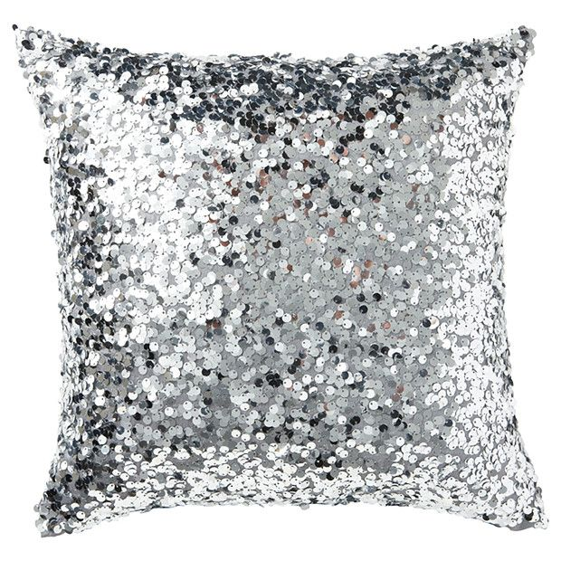Our Adriana Silver Sequin Cushion by Caprice is beautifully placed on a high shine opulent white fabric with a silver lurex embroidered heart. Mix of velvet and sequin.